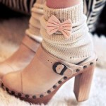 Knitted Socks + Bow = Super Cute!
