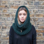 Knitted Cowl Neck Scarf and Hood