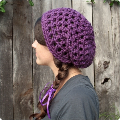 Chunky Purple Crochet Hat - Knitting is Awesome