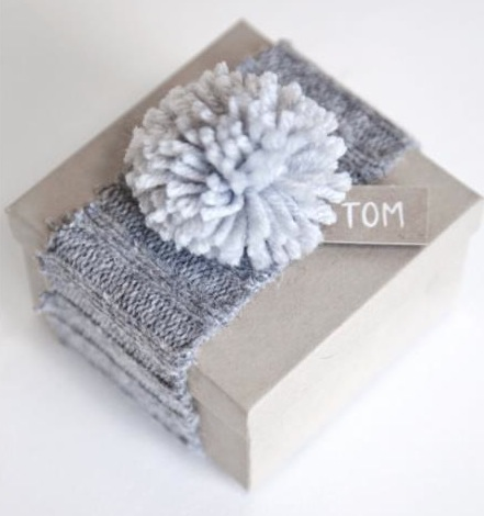 knitted gift wrapping