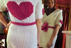"""Cuddle Bunny"" Hooded Robe with Heart Knitting Pattern"