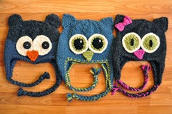 """Owl Be There"" Family of Animal Hats Knitting Pattern"