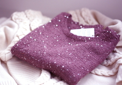 purple sequin sweater