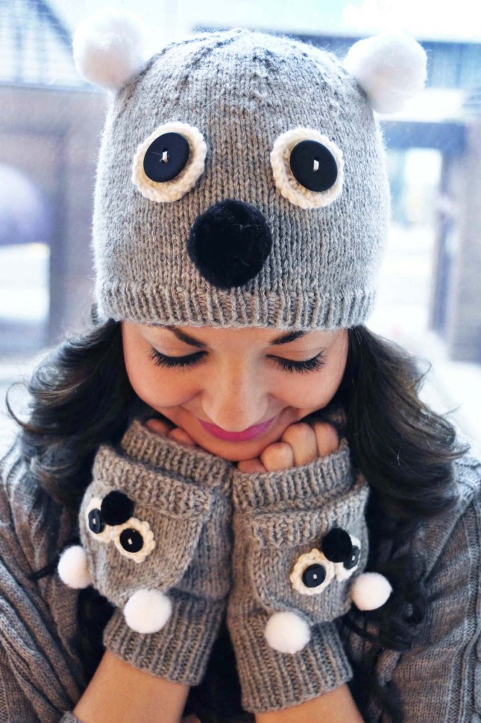 care to cuddle koala bear hat and mittens knitting pattern 2