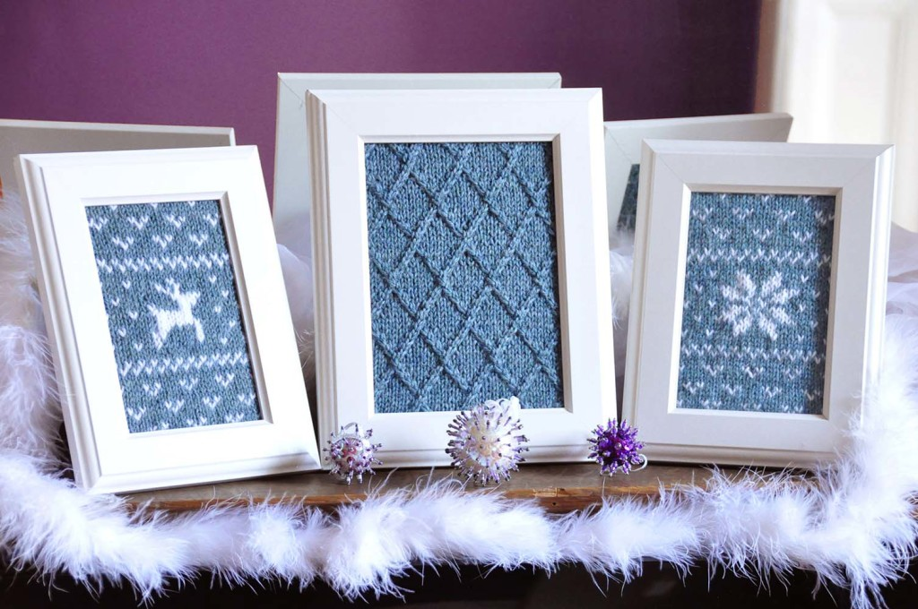 fair isle flurries framed knitted wall art holiday knitting pattern