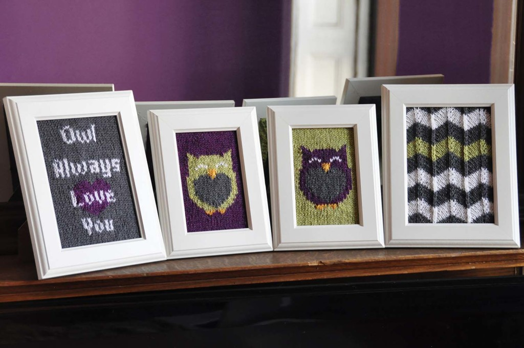 owl friends framed knitted wall art knitting pattern