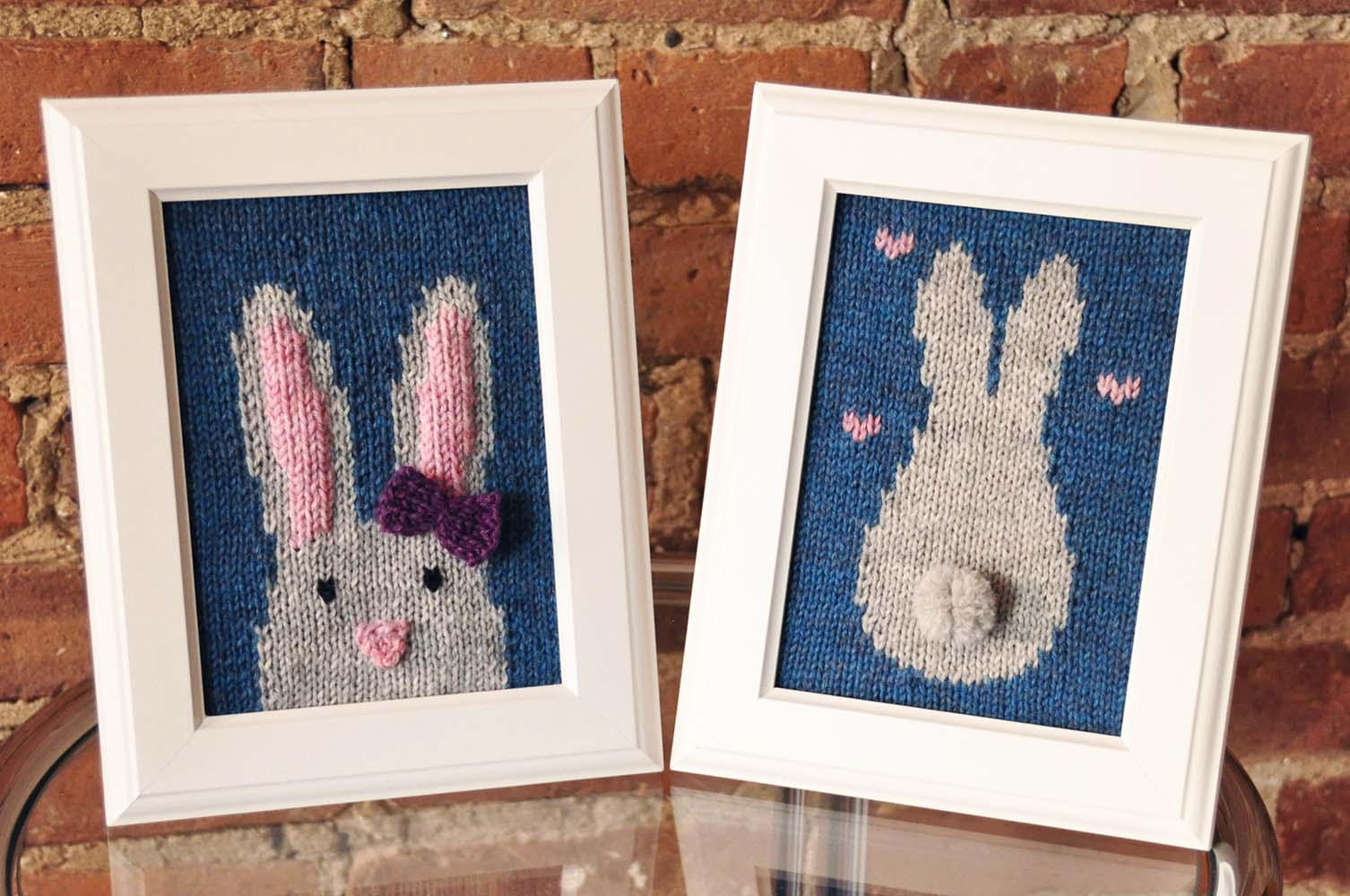 """Some Bunny Loves You"" Knitted Wall Art Knitting Pattern"