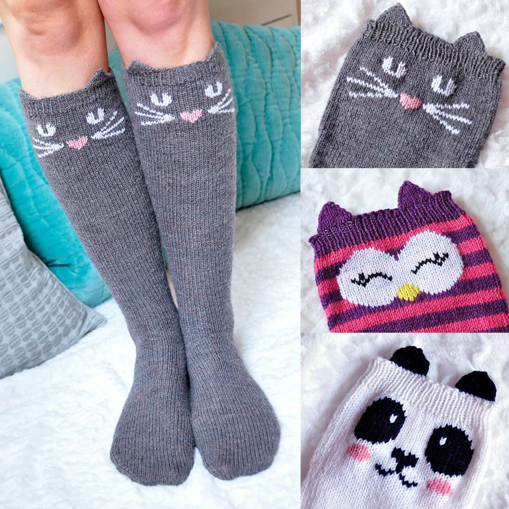 """Check Meowt!"" Cat, Owl, and Panda Knee High Socks Knitting Pattern"