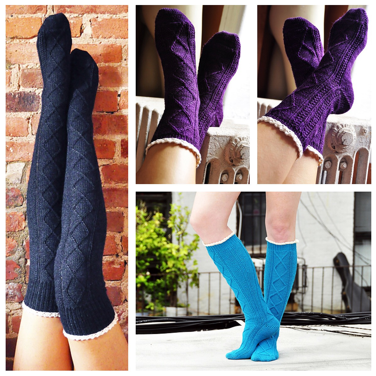 3a229866e diamond in the ruffle cable knit over the knee socks knitting pattern  collage