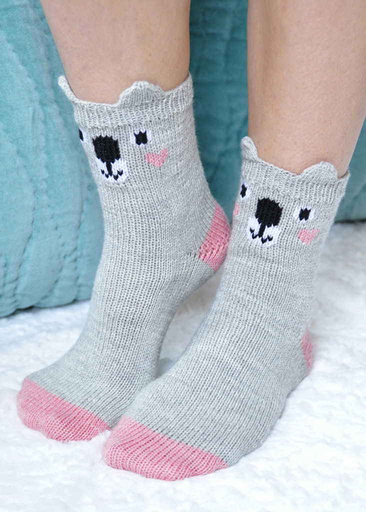 pawsome pals knitted koala socks with ears knitting pattern 2 cropped again