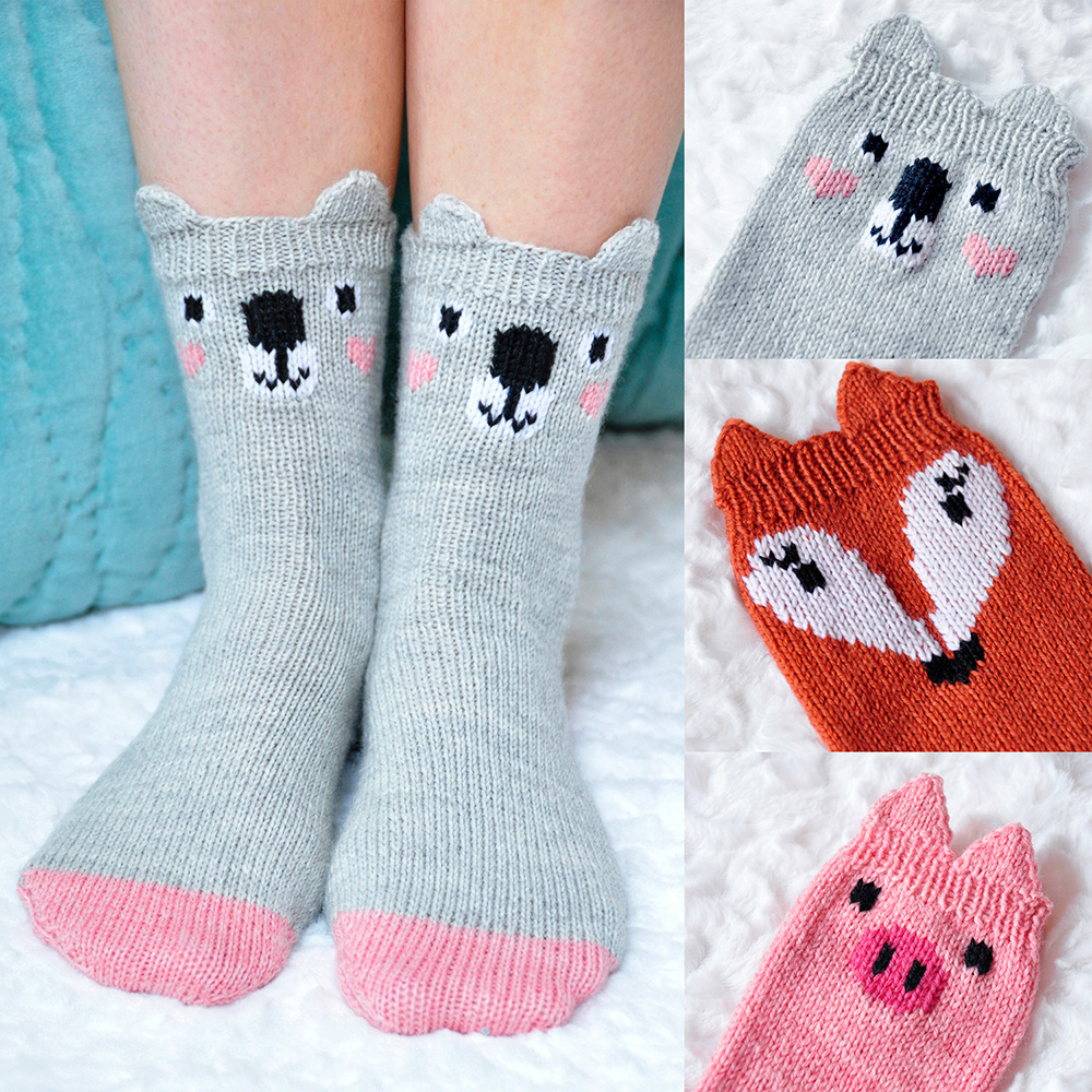 """Pawsome Pals"" Koala, Fox, and Pig Animal Socks Knitting Pattern"