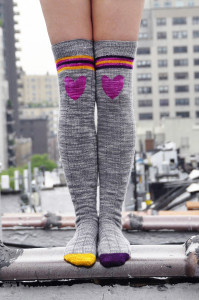 roller girl knitted thigh high striped socks with heart knee patch 2