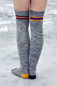 roller girl knitted thigh high striped socks with heart knee patch 4