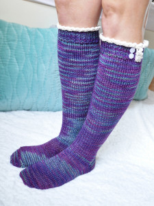young at heart cable knit knee high socks with lace trim 1