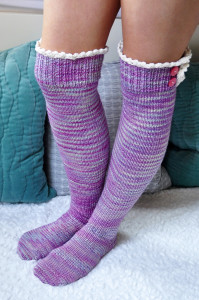 young at heart cable knit over the knee socks with lace trim 3