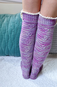 young at heart cable knit over the knee socks with lace trim 5