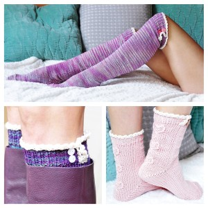 young at heart cable knit socks with lace trim collage