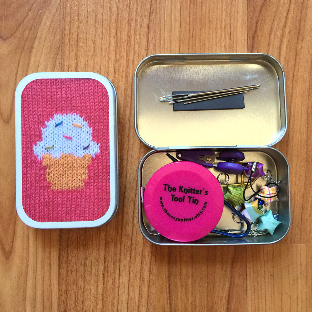 girly knits cupcake knitters tool tin