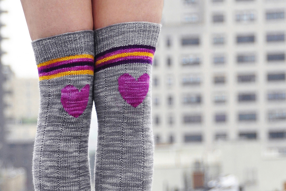 """Roller Girl"" Heart Knee Patch Striped Socks Knitting Pattern"