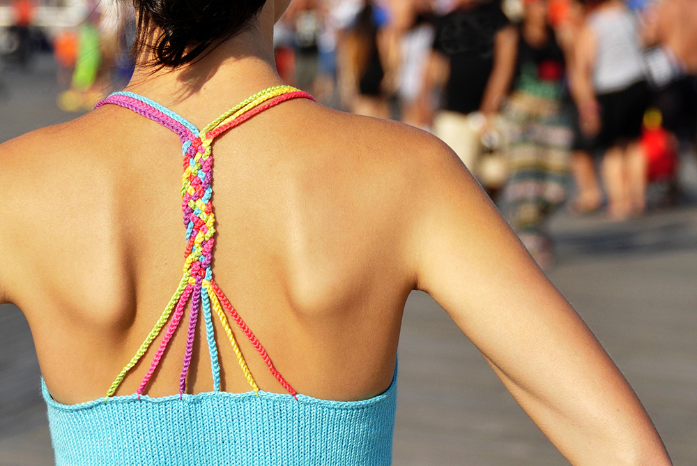 """Sunshine and Lollipops"" Braided Strappy Back Tank Top with Geo Lace Edge Knitting Pattern"