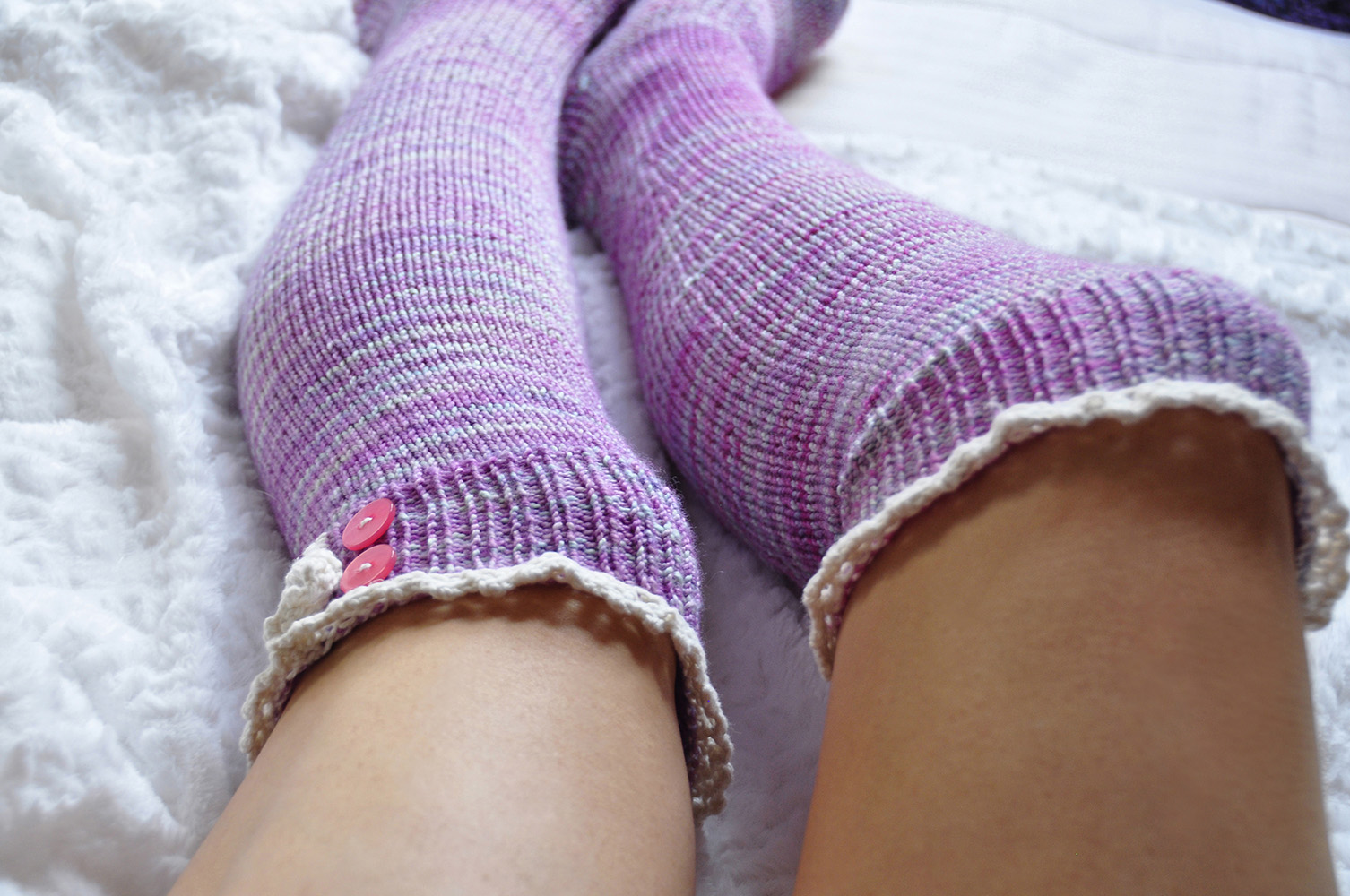 """Young at Heart"" Heart Cable Lace Placket Socks Knitting Pattern"
