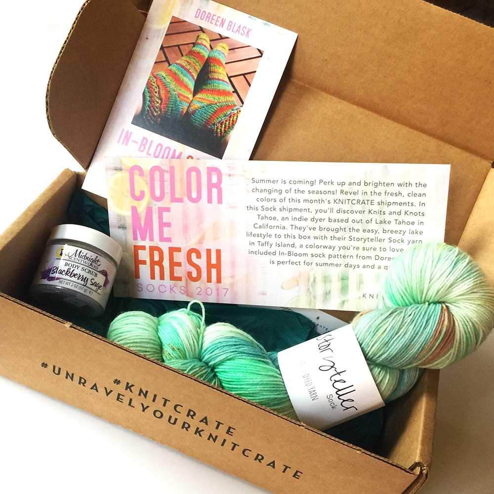 knitcrate box contents june 2017 square